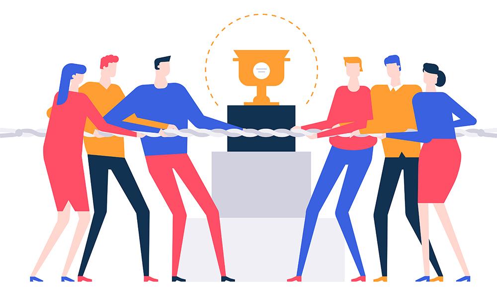 ilustración de equipo luchando por premio